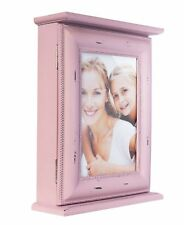Key Box Pink Picture Frame Vintage Wood Key Closet Wall Cabinet Chic