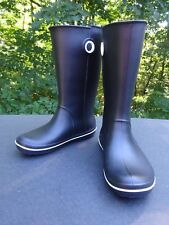 Womens Crocband Jaunt Rain Boot- women's Size 8 CROCS -- Black w/ white trim