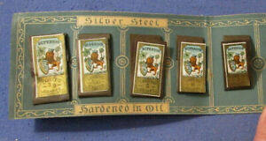 ANTIQUE VINTAGE  SILVER STEEL NEEDLE BOOK WITH CONTENTS