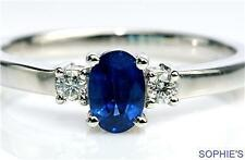 Solitaire with Accents Sapphire 14k Engagement Rings