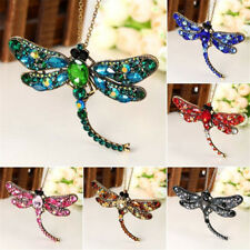 2 in 1 Vintage Gold Rhinestone Crystal Dragonfly Brooch Pin Chain Necklace Hot