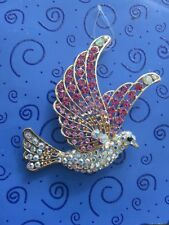Pink & AB Rhinestone Betsey Johnson Peace Mother Symbol DOVE Pendant Necklace