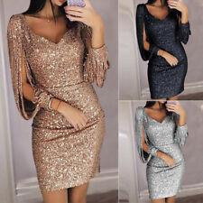 Women V neck Bodycon Dresses Slim Glitter Tassel Ladies Party Dress Elegant