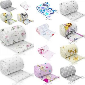 PADDED STRAIGHT BUMPER TO FIT COT BABY BEDDING ALL ROUND 100% COTTON 360cm