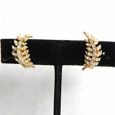 Vintage Earrings Seed Pearl Crystal Rhinestone Screw Back