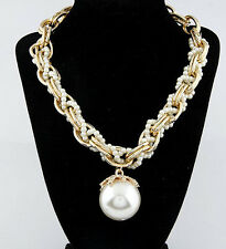 Elegant Choker Chunky Necklace Big Pearl Pendant Fashion Long Sweater Chain