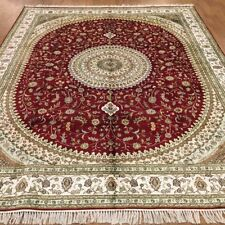 YILONG 8'x10' Large Red Handmade Rug Classic Tariz Hand Knotted Silk Carpet 364C