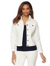 DG2 Diane Gillman Women Jeweled Denim Jacket Button Long Sleeves WHITE 3X