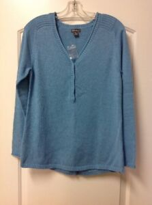Eddie Bauer Women's Sweatshirt Henley Sweater Heather Azure Medium SOLD OUT $50