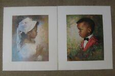 DAC NY Art Prints 1968 & 1971 Cardboard 5x7 Black children pictures Americana