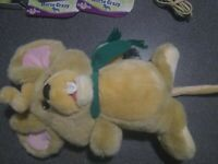 """14"""" VINTAGE KIDS OF AMERICA light brown mouse w/scarf  STUFFED ANIMAL PLUSH TOY"""