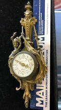 ANTIQUE FRENCH GILT BRONZE ROCOCO CHERUB PUTTI MASK WALL CLOCK 1890 ART NOUVEAU