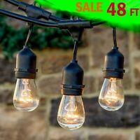 Outdoor String Lights Patio Vintage Garden Yard Commercial Grade Waterproof 48Ft