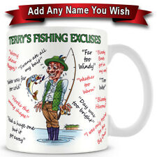 Fishing -Personalised - Excuses Funny Ceramic Coffee Mug – Makes an Ideal Gift