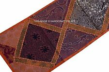 ORANGE MIRROR BEADED WORK PATCHWORK RUNNER TAPESTRY EMBROIDERED WALL HANGING