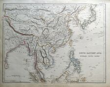 Se. Asia, Birmania, Malasia, Vietnam, Tíbet, Laos, Tailandia Sharpe antiguo mapa 1849