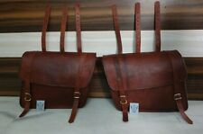"""Leather Motorcycle Saddlebags 1 Pair Brown Pouch Panniers New Design 12""""x16""""X5"""""""