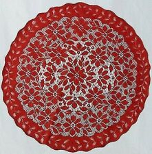 """Holiday Red 30"""" Round Regency Lace Table Topper/Doily"""