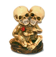 New Hugging Vampire Skeleton Couple Holding A Rose Statue Figures