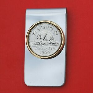 Canada 1966 Canada 5 Cent Beaver on Rock Coin Stainless Steel Money Clip New