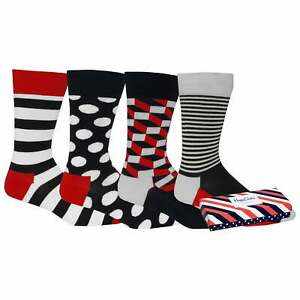Happy Socks 4-Pack Stripes & Dots Socks Gift Pack, Navy/White/Red One Size