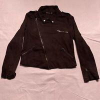 Women's By Corpus Black Asymmetrical Moto Jacket Size Large 100% Polyester