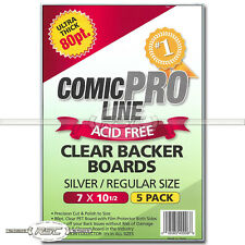 "5 - Comic Pro Line Silver / Regular 80pt Clear PET Backer Boards - 7"" x 10-1/2"""