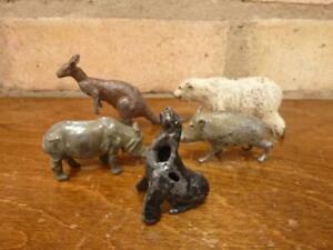 5 Nice vintage lead zoo figures Kangaroo Boar Etc. Britains Hill Co