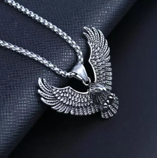 Mens Eagle Wings pendant necklace stainless steel unisex 24