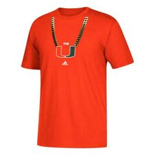 "Miami Hurricanes NCAA Adidas Primary ""Chain"" Graphic Men's Orange T-Shirt"