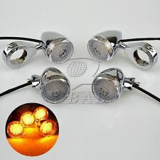 4XChrome Motorcycle Front + Rear LED Turn Signal 41mm Fork Clamp Light Fo Harley