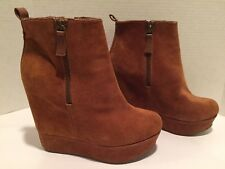 Aldo Ankle Boots High Wedge Platform Suede Whiskey Brown 39/8.5