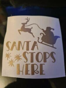 Santa please stop here  reindeer seigh VINYL DECALS  stickers baubles mug  diy