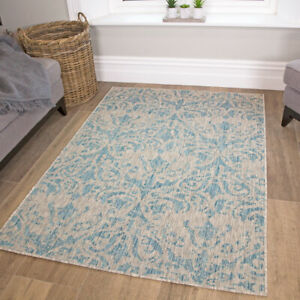Blue Flatweave Rug for Outside | Indoor Outdoor Rugs for Summer | Hose Clean Mat