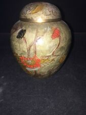 "Solid Brass Vase with Enamel Painted Flowers 4.75"" tall India"