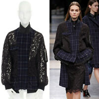 SACAI blue checked wool black floral lace voluminous ruffle hem jacket coat JP2