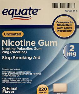 Equate Nicotine Uncoated Gum Stop Smoking Aid 2mg Original Flavor 220 EXP:06/23