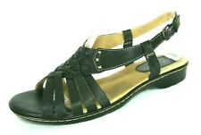 Softspots Shoes Sandals Sz 9W Black Leather Slingback Strappy Flats 9 W Wide