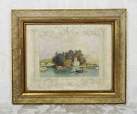 Antique 19th Century Tombleson Hand Colored Engraving Print Island Near Henley