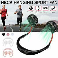 Portable USB Rechargeable Neckband Neck Hanging Dual Cooling Fan Sports 3 Speeds