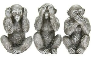 Monkey Statue Three Wise Monkeys Sculpture See No Hear No Speak No Evil,  Silver