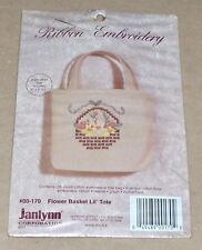 """Janlynn """"Flower Basket Lil' Tote"""" Ribbon Embroidery Kit NIP 5x5x2"""""""