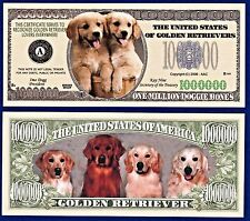 25-Golden Retriever Dog Dollar Bills Puppy-Novelty - Collectible- Money-W1