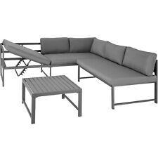 Set de Muebles de Jardín Mesa Aluminio Juego Sofás Exterior Patio Terraza Gris