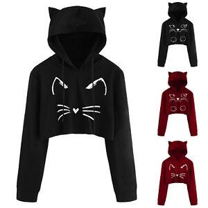 Women Girls Cat Print Ear Hoodie Crop Tops Long Sleeve Hooded Jumper Sweatshirts