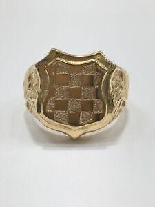 9ct 9K Yellow Gold Mens Signet Ring. Large Croatian Emblem Shield. Brand New