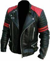 NEW MEN'S CLASSIC DESIGN BRANDO RED BLACK BIKER GENUINE LEATHER JACKET SALE HOT