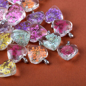 5pcs Handmade Glass Heart Pendants Flower Inside Platinum Bail Charms 27~28x20mm