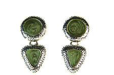 Señoras plata Verde gótico Retro único pendientes nueva única (A20)