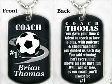 SOCCER COACH W/POEM - Dog tag necklace or key chain+FREE ENGRAVING